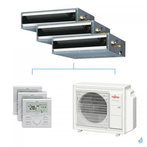 Climatisation tri-split FUJITSU gainable KLLAP 6.8kW taille 3.5 + 3.5 + 3.5 - ARXG12/12/12KLLAP + AOYG24KBTA3