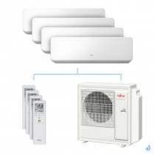 Climatisation quadri-split FUJITSU KMCC 8kW taille 2 + 2.5 + 2.5 + 3.5 - ASYG07/09/09/12KMCC + AOYG30KBTA4