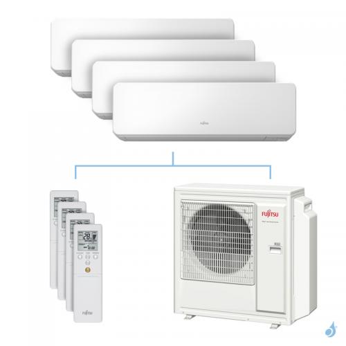 Climatisation quadri-split FUJITSU KMCC 8kW taille 2 + 2.5 + 3.5 + 3.5 - ASYG07/09/12/12KMCC + AOYG30KBTA4