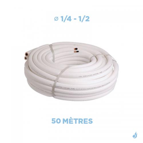 Liaison frigorifique bi-tube isolée 1/4 - 1/2 M1 Longueur 50 mètres