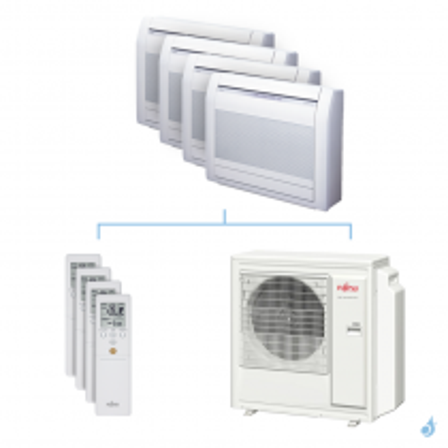 Climatisation quadri-split FUJITSU Console KVCA 8kW taille 2.5 + 3.5 + 3.5 + 4 - AGYG09/12/12/14KVCA + AOYG30KBTA4