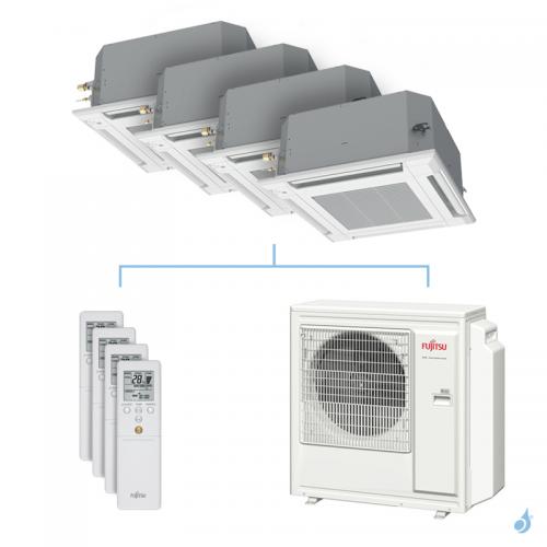 Climatisation quadri-split FUJITSU cassette KVLA 8kW taille 2 + 2 + 2.5 + 3.5 - AUXG07/07/09/12KVLA + AOYG30KBTA4