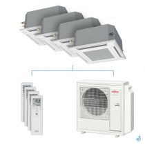 Climatisation quadri-split FUJITSU cassette KVLA 8kW taille 2 + 2 + 2.5 + 4 - AUXG07/07/09/14KVLA + AOYG30KBTA4