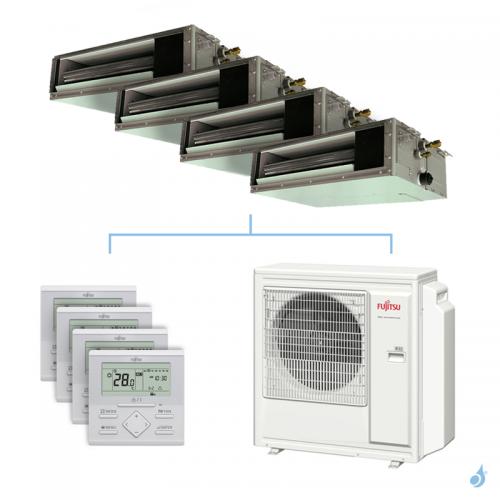 Climatisation quadri-split FUJITSU gainable KSLAP 8kW taille 2 + 2 + 2 + 4 - ARXG07/07/07/14KSLAP + AOYG30KBTA4