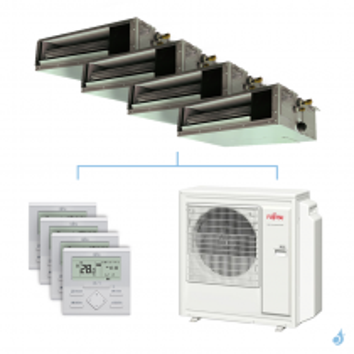 Climatisation quadri-split FUJITSU gainable KSLAP 8kW taille 2 + 2.5 + 2.5 + 3.5 - ARXG07/09/09/12KSLAP + AOYG30KBTA4
