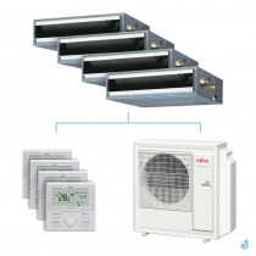 Climatisation quadri-split FUJITSU gainable KLLAP 8kW taille 2 + 3.5 + 3.5 + 5 - ARXG07/12/12/18KLLAP + AOYG30KBTA4