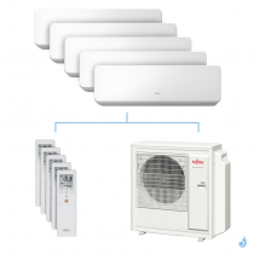 Climatisation penta-split FUJITSU KMCC 9.5kW taille 2 + 2.5 + 2.5 + 3.5 + 3.5 - ASYG07/09/09/12/12KMCC + AOYG36KBTA5