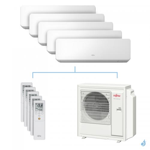 Climatisation penta-split FUJITSU KMCC 9.5kW taille 2 + 2.5 + 3.5 + 3.5 + 4 - ASYG07/09/12/12/14KMCC + AOYG36KBTA5