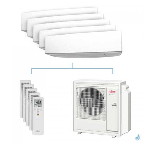 Climatisation penta-split FUJITSU KETA 9.5kW taille 2 + 2.5 + 2.5 + 3.5 + 4 - ASYG07/09/09/12/14KETA + AOYG36KBTA5