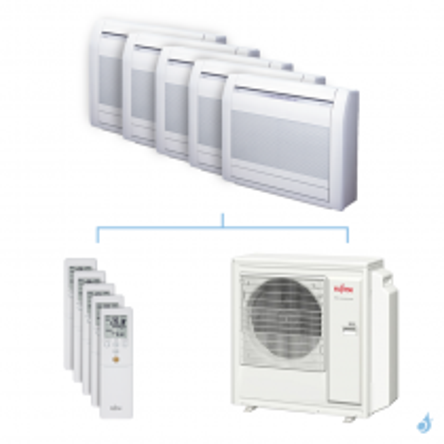 Climatisation penta-split FUJITSU Console KVCA 9.5kW taille 2.5 + 2.5 + 2.5 + 2.5 + 2.5 - AGYG09/09/09/09/09KVCA + AOYG36KBTA5