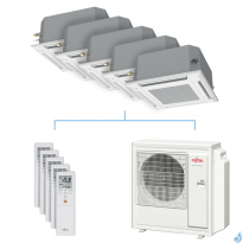 Climatisation penta-split FUJITSU cassette KVLA 9.5kW taille 2 + 2 + 2.5 + 2.5 + 5 - AUXG07/07/09/09/18KVLA + AOYG36KBTA5
