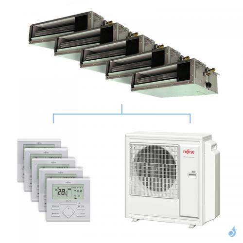 Climatisation penta-split FUJITSU gainable KSLAP 9.5kW taille 2 + 2 + 3.5 + 4 + 4 - ARXG07/07/12/14/14KSLAP + AOYG36KBTA5