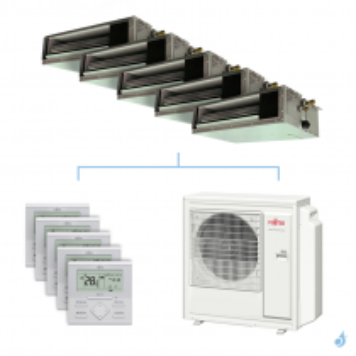 Climatisation penta-split FUJITSU gainable KSLAP 9.5kW taille 2 + 2.5 + 2.5 + 3.5 + 4 - ARXG07/09/09/12/14KSLAP + AOYG36KBTA5