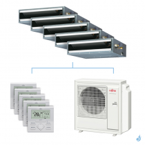 Climatisation penta-split FUJITSU gainable KLLAP 9.5kW taille 2 + 2.5 + 2.5 + 2.5 + 3.5 - ARXG07/09/09/09/12KLLAP + AOYG36KBTA5