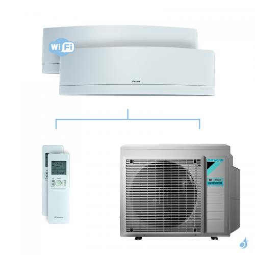 Climatisation bi-split DAIKIN Emura blanc FTXJ-MW 6.8kW taille 2.5 + 2.5 - FTXJ25MW + FTXJ25MW + 4MXM68N