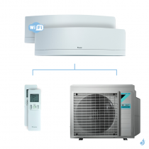 Climatisation bi-split DAIKIN Emura blanc FTXJ-MW 6.8kW taille 2.5 + 5 - FTXJ25MW + FTXJ50MW + 4MXM68N