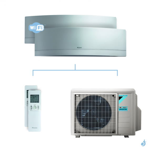 Climatisation bi-split DAIKIN Emura argent FTXJ-MS 5kW taille 2 + 2 - FTXJ20MS + FTXJ20MS + 2MXM50N