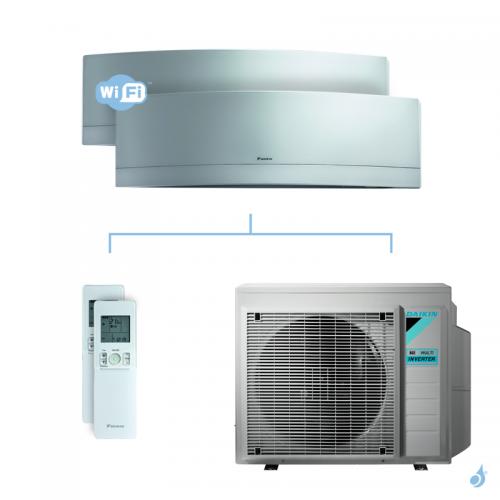 Climatisation bi-split DAIKIN Emura argent FTXJ-MS 6kW taille 2.5 + 2.5 - FTXJ25MS + FTXJ25MS + 3MXM68N
