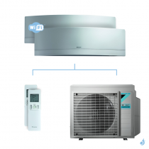 Climatisation bi-split DAIKIN Emura argent FTXJ-MS 6kW taille 3.5 + 3.5 - FTXJ35MS + FTXJ35MS + 3MXM68N