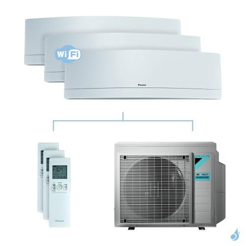 Climatisation tri-split DAIKIN Emura blanc FTXJ-MW 6kW taille 2.5 + 2.5 + 5 - FTXJ25/25/50MW + 3MXM68N