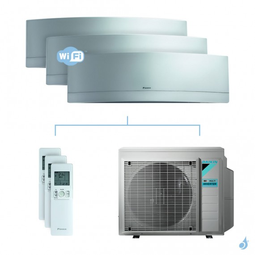 Climatisation tri-split DAIKIN Emura argent FTXJ-MS 5.2kW taille 2 + 3.5 + 3.5 - FTXJ20/35/35MS + 3MXM52N