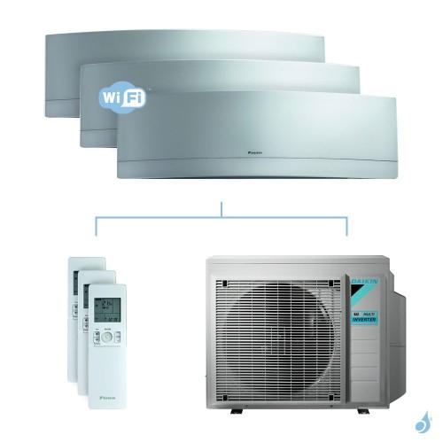 Climatisation tri-split DAIKIN Emura argent FTXJ-MS 6kW taille 2 + 2.5 + 5 - FTXJ20/25/50MS + 3MXM68N