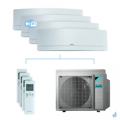 Climatisation quadri-split DAIKIN Emura blanc FTXJ-MW 6.8kW taille 2 + 2 + 2.5 + 3.5 - FTXJ20/20/25/35MW + 4MXM68N