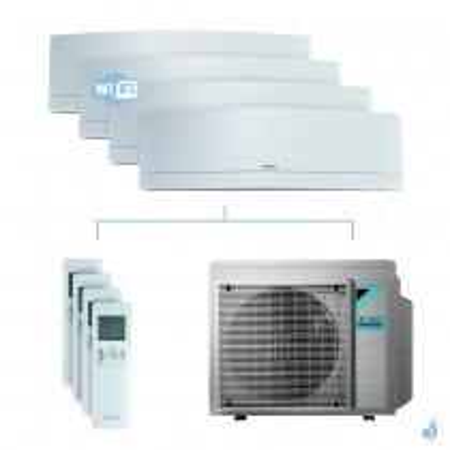 Climatisation quadri-split DAIKIN Emura blanc FTXJ-MW 7.4kW taille 2 + 2.5 + 2.5 + 3.5 - FTXJ20/25/25/35MW + 4MXM80N