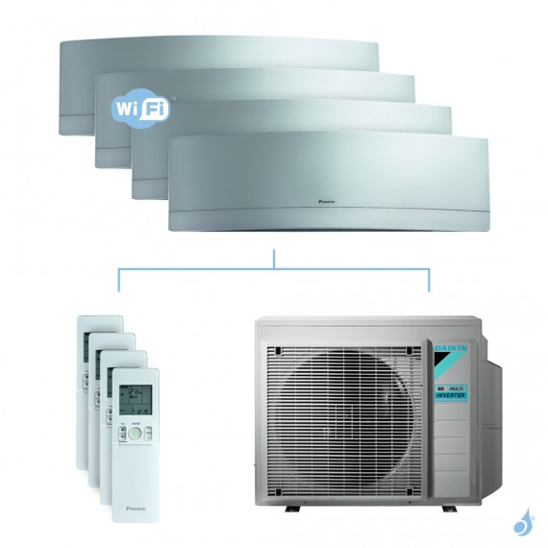 Climatisation quadri-split DAIKIN Emura argent FTXJ-MS 6.8kW taille 2.5 + 2.5 + 2.5 + 2.5 - FTXJ25/25/25/25MS + 4MXM68N