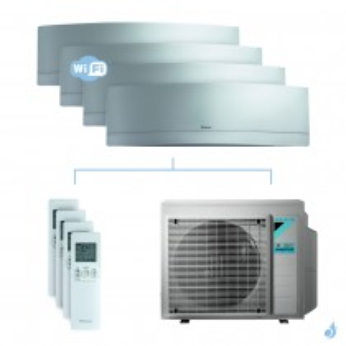 Climatisation quadri-split DAIKIN Emura argent FTXJ-MS 7.4kW taille 2 + 2 + 2 + 3.5 - FTXJ20/20/20/35MS + 4MXM80N