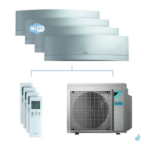 Climatisation quadri-split DAIKIN Emura argent FTXJ-MS 7.4kW taille 2.5 + 3.5 + 3.5 + 5 - FTXJ25/35/35/50MS + 4MXM80N