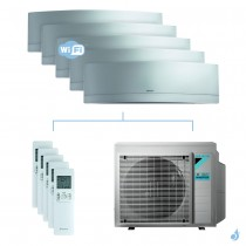 Climatisation penta-split DAIKIN Emura argent FTXJ-MS 8.5kW taille 2 + 2 + 2 + 2 + 5 - FTXJ20/20/20/20/50MS + 5MXM90N